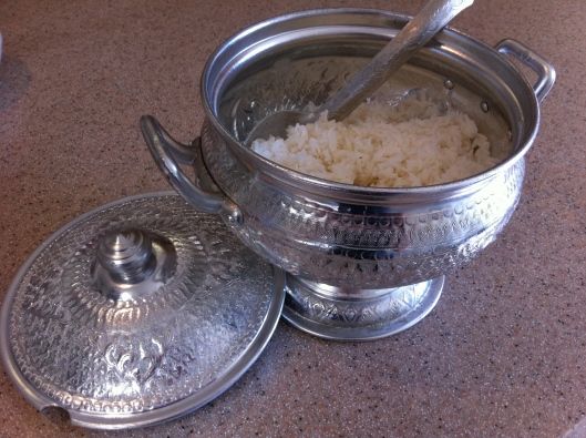You'll find these rice serving bowls in Asian markets, modeled on traditional ones made of hammered silver.