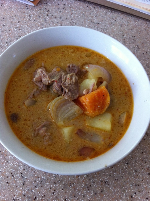 Mussaumun Curry with Beef, Potatoes, Peanuts (shown here with mutton and addition of sweet potatoes) / gaeng mussamun  Real Thai: The Best of Thailand's Regional Cooking, Chapter 3: The South, page 116