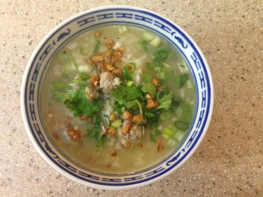 Rice Porridge with Minced Pork, Fried Garlic, and Green Onions  /  kao tome  Real Thai: Te Best of Thailand's Regional Cooking, Chapter 1: The Center, page 48
